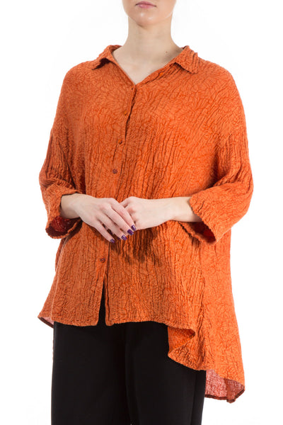 Loose Floral Saffron Silk Shirt - GRIZAS | Natural Contemporary Womenswear