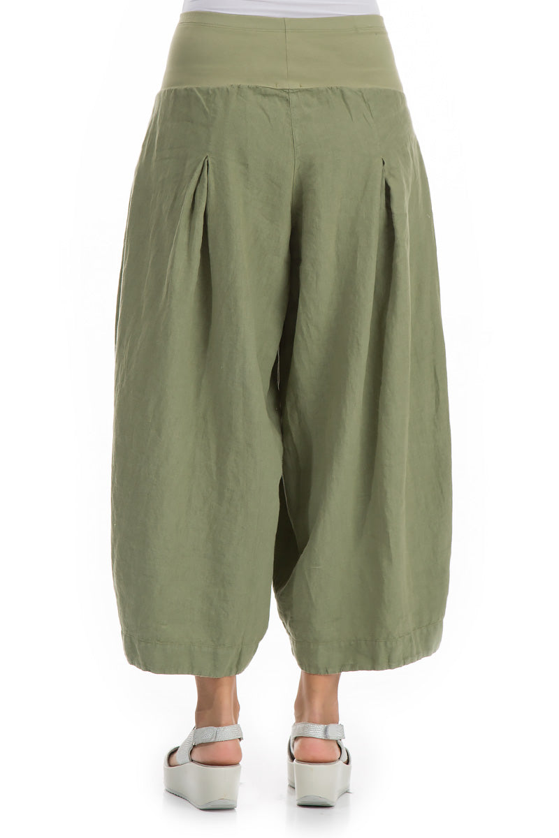 Loose Khaki Linen Trousers - GRIZAS | Natural Contemporary Womenswear