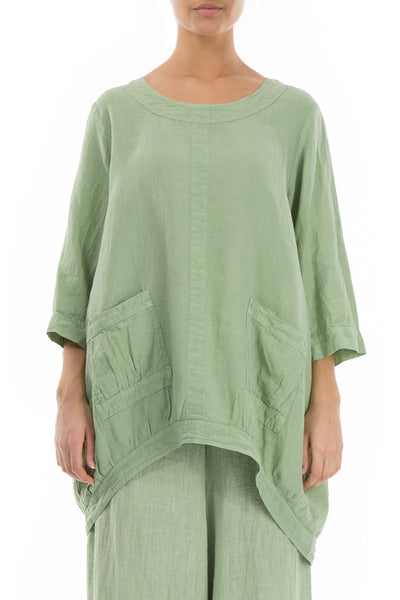 Loose Mint Linen Tunic - GRIZAS | Natural Contemporary Womenswear