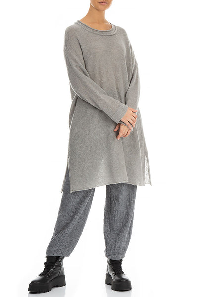 Long Opal Grey Wool Sweater