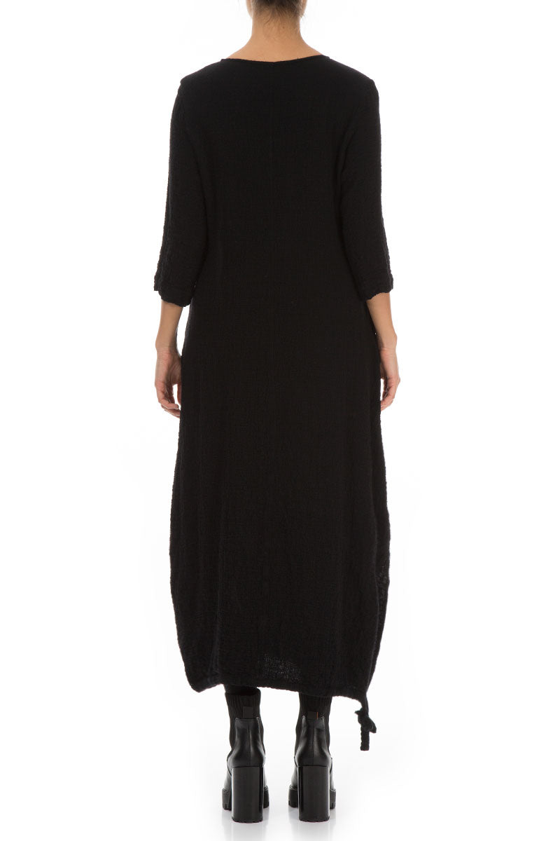 Maxi Balloon Black Wool Dress