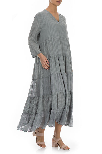 Maxi Flared Light Grey Silk Dress