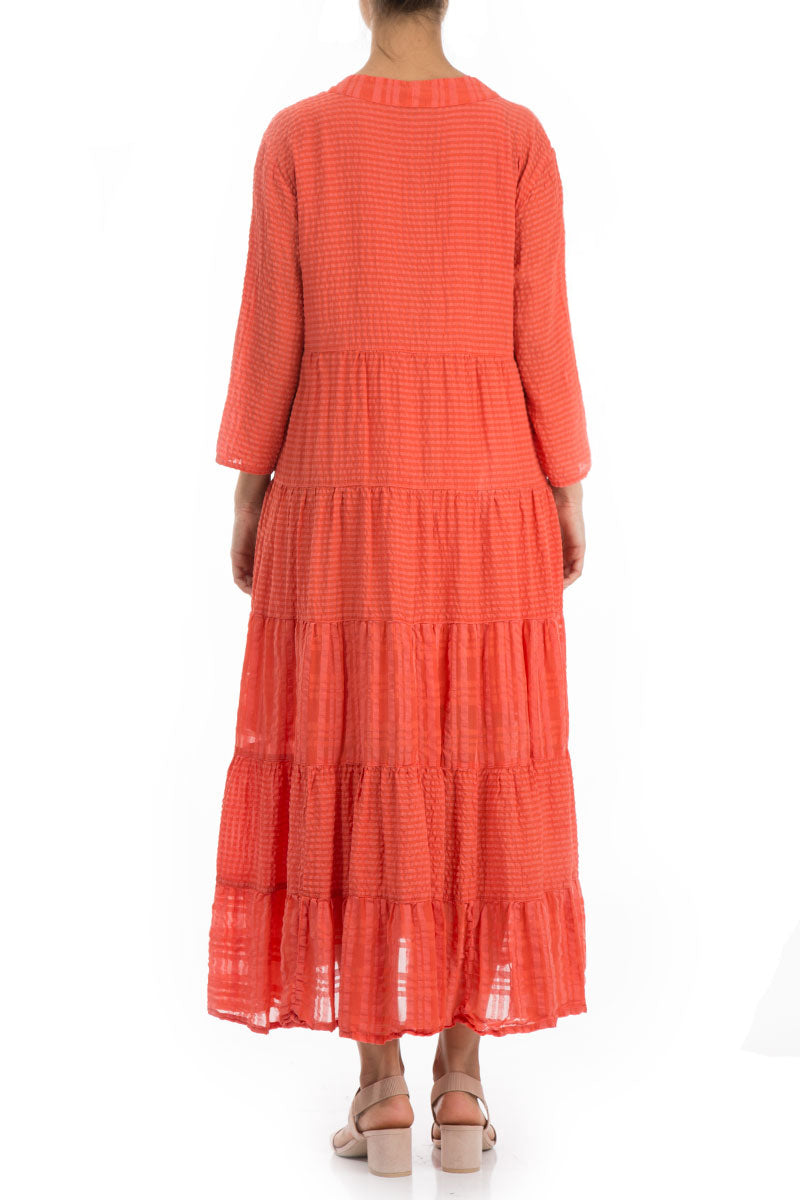 Maxi Flared New Orange Silk Dress