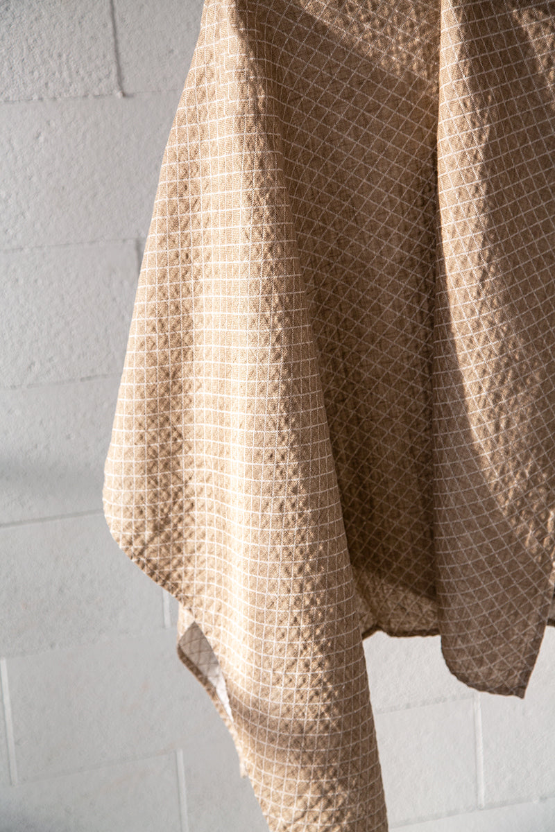 Natural Checkered Linen Towel