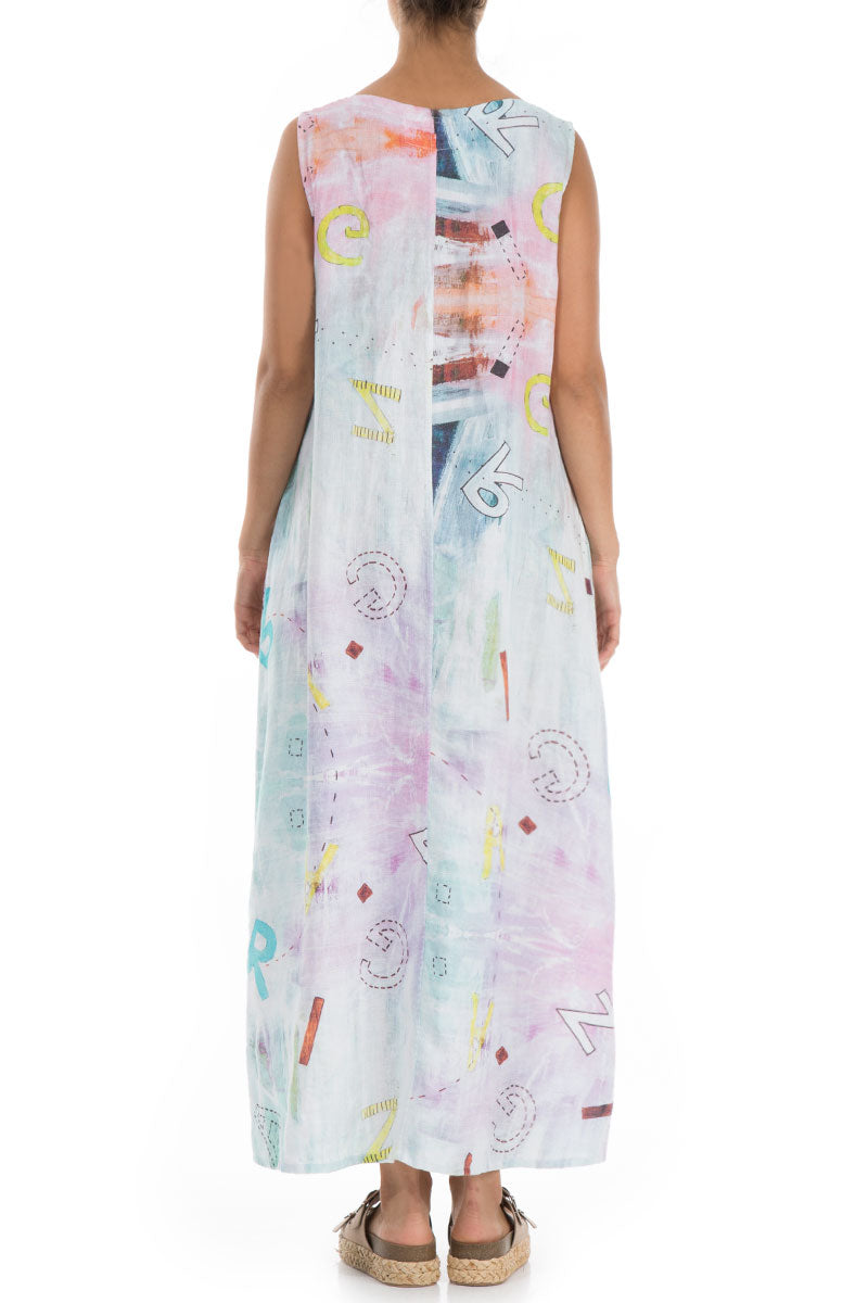 Maxi Sleeveless Graffiti Linen Dress