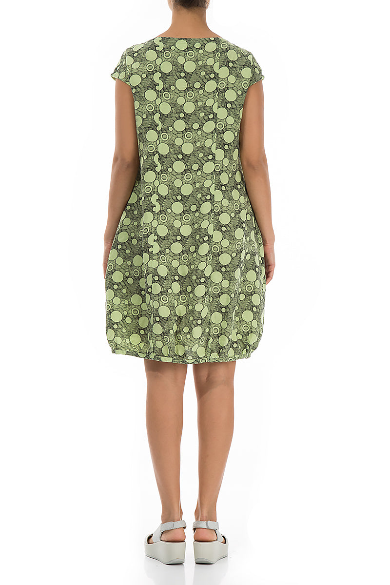 Midi Bubbles Printed Lime Linen Dress