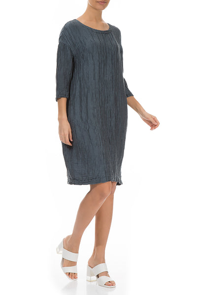 Midi Crinkled Brass Blue Silk Linen Dress