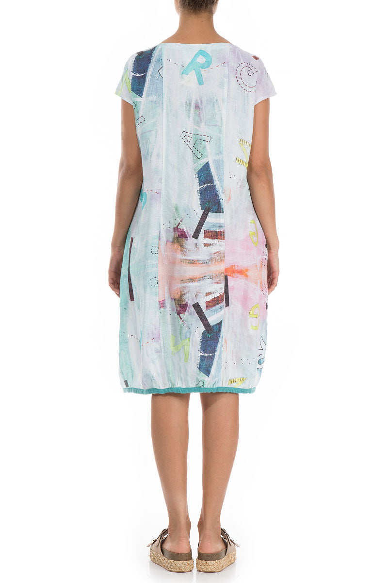 Midi Graffiti Linen Dress