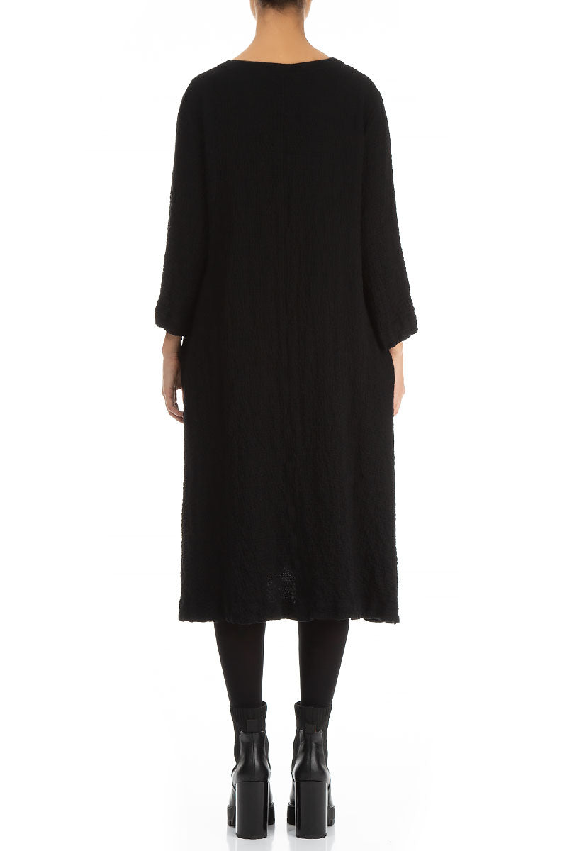 Midi Length Black Wool Dress