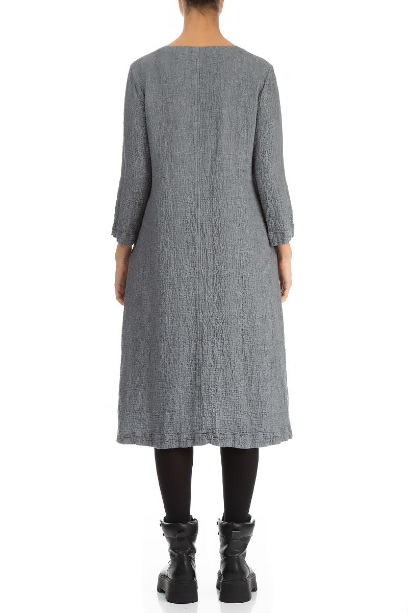 Midi Length Grey Wool Dress