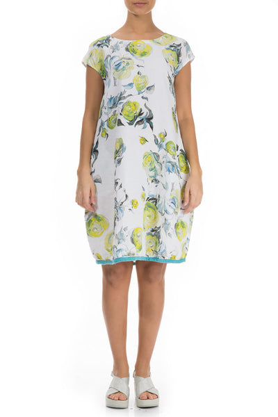 Midi Lime Rose Print Linen Dress