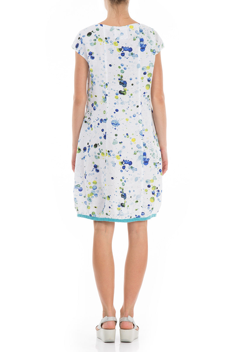 Midi Ocean Splash Print Linen Dress