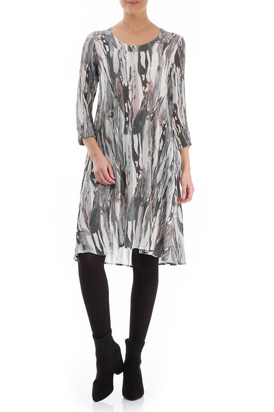 Midi Rain Print Silk Viscose Dress