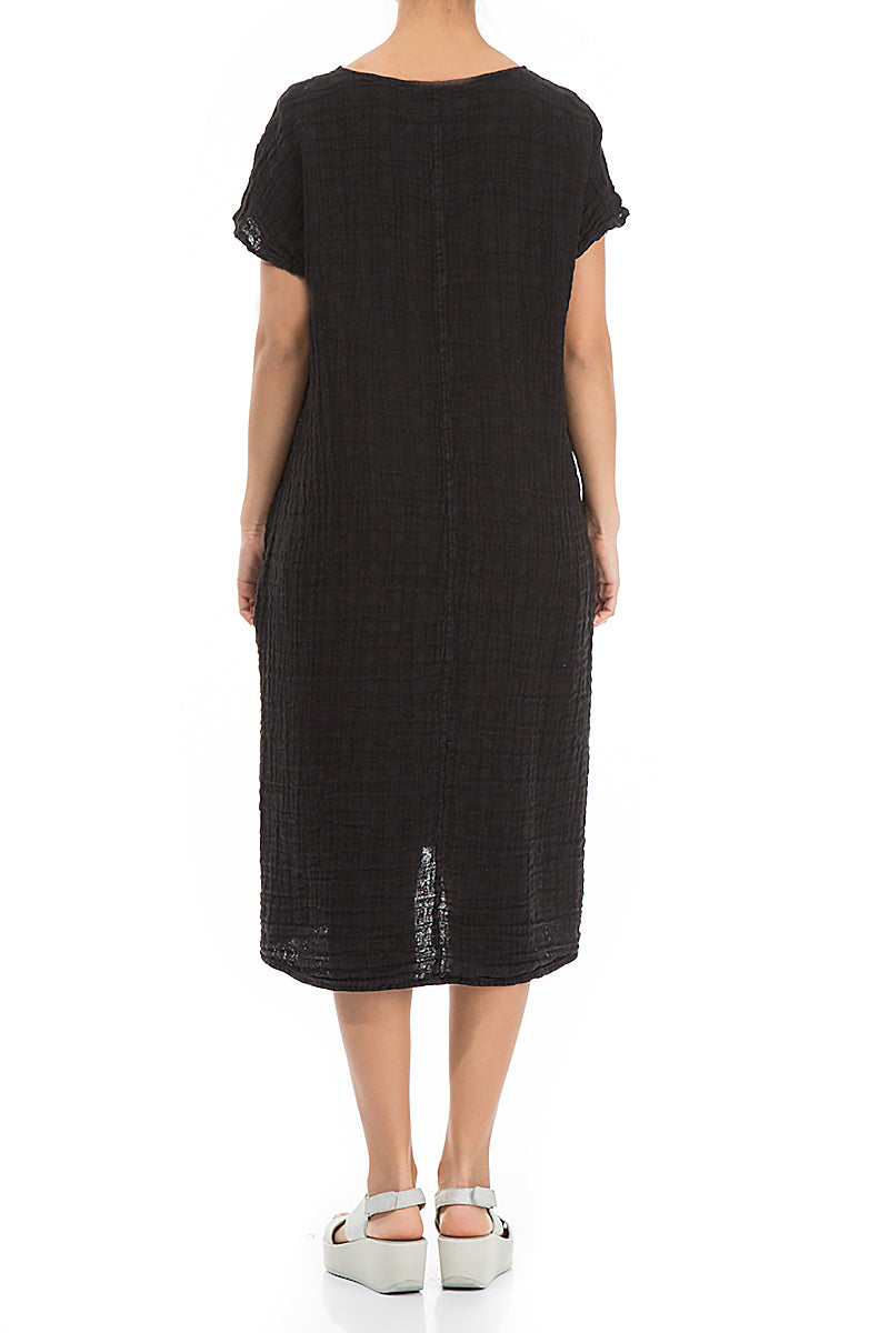 Midi Textured Black Linen Dress - GRIZAS | Natural Contemporary Womenswear