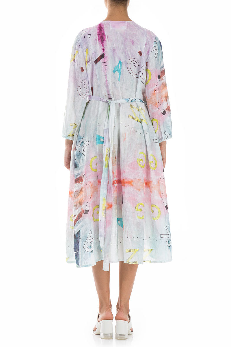 Midi Wrap Graffiti Linen Dress