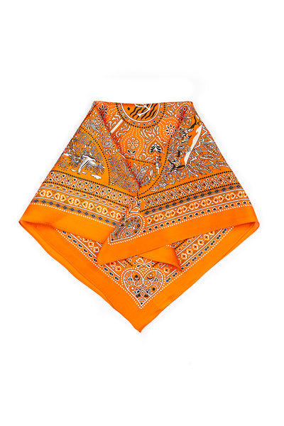 Mini Printed Orange Pure Silk Scarf