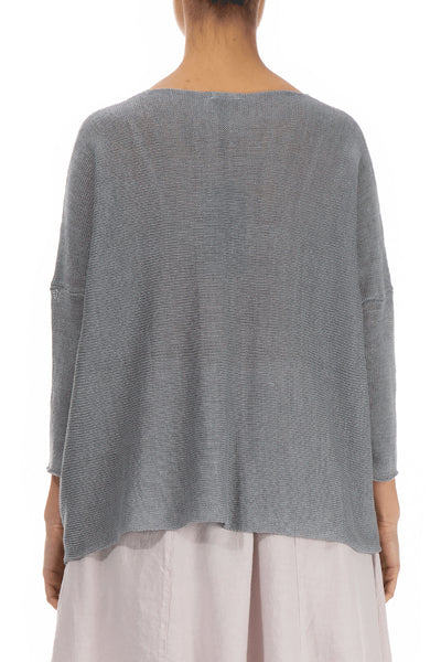 Minimalist Light Grey Linen Sweater - GRIZAS | Natural Contemporary Womenswear