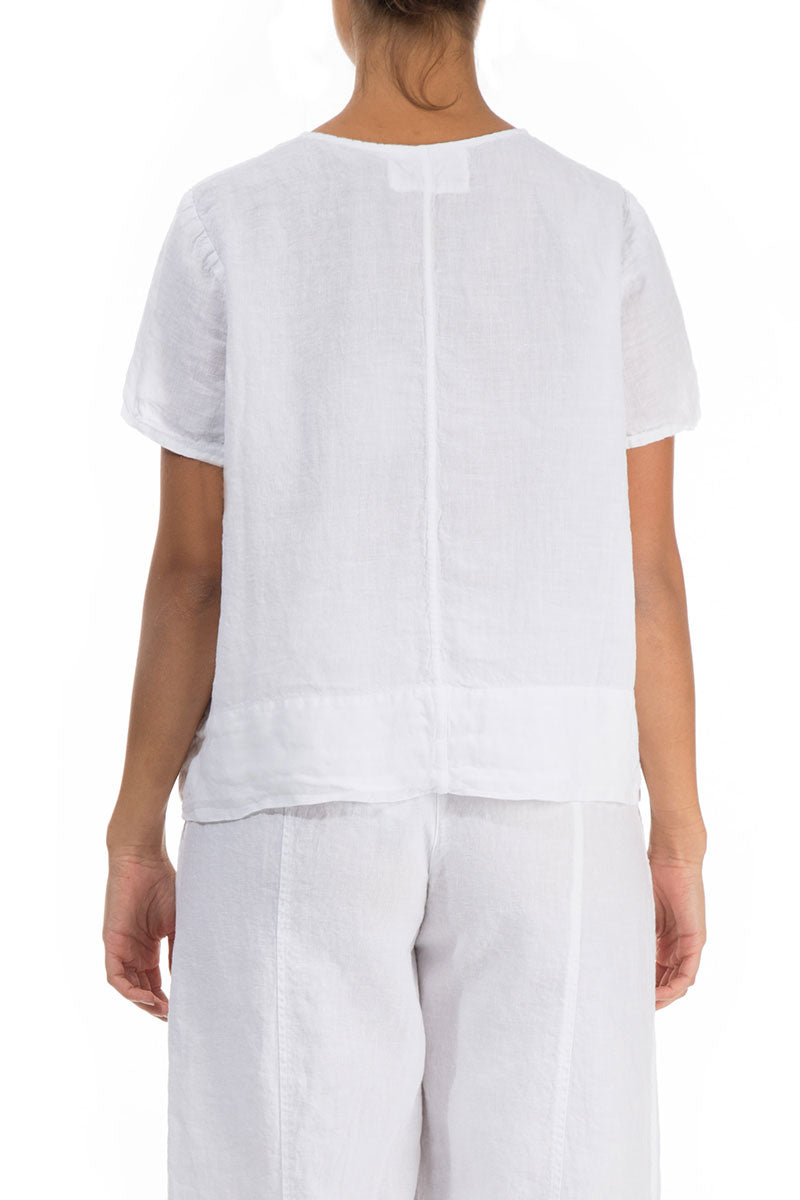 Minimalist White Linen Blouse - GRIZAS | Natural Contemporary Womenswear