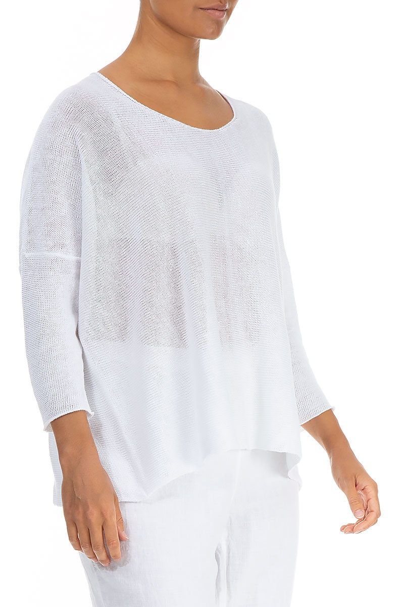 Minimalist White Linen Sweater - GRIZAS | Natural Contemporary Womenswear