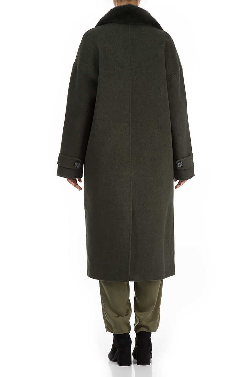 Stylish Modern Khaki Wool Coat - GRIZAS | Natural Contemporary Womenswear