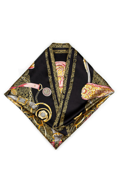 Printed Black Pure Silk Scarf