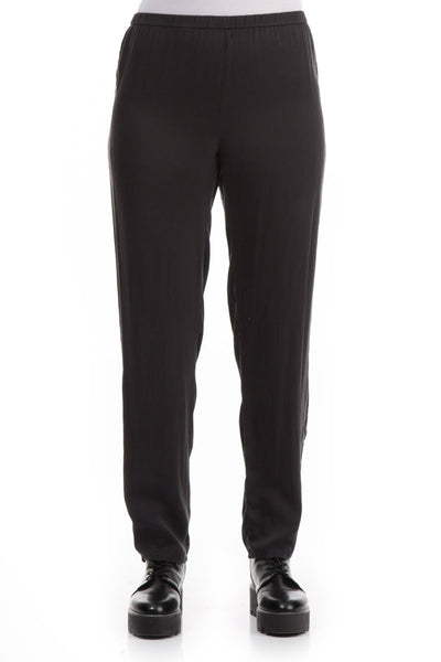 Narrow Black Silk Trousers - GRIZAS | Natural Contemporary Womenswear