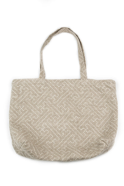 Natural Ornamented Linen Bag