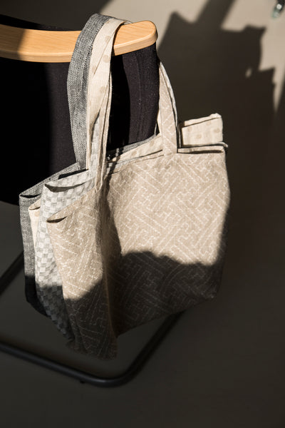 Natural Checkered Linen Bag