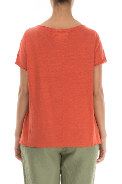 New Orange Thin Linen Top - GRIZAS | Natural Contemporary Womenswear
