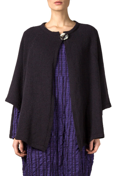 Single Button Dark Purple Wool Cardigan