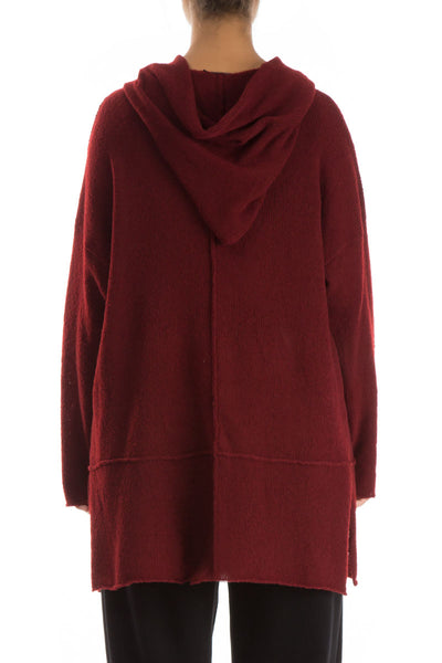 One Button Dark Red Wool Sweater