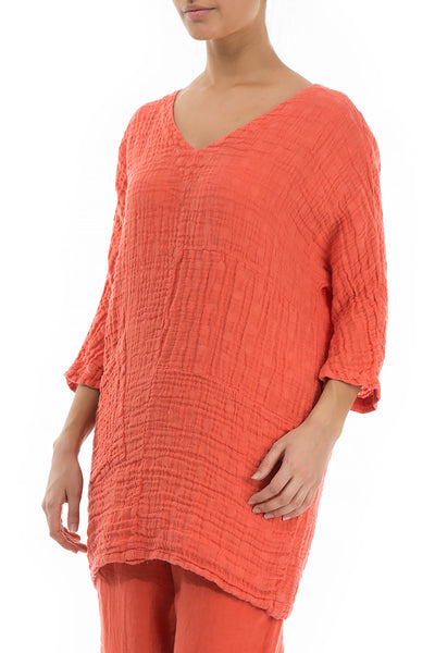 One Pocket New Orange Linen Tunic - GRIZAS | Natural Contemporary Womenswear