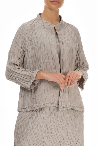 Open Crinkled Cappuccino Silk Jacket