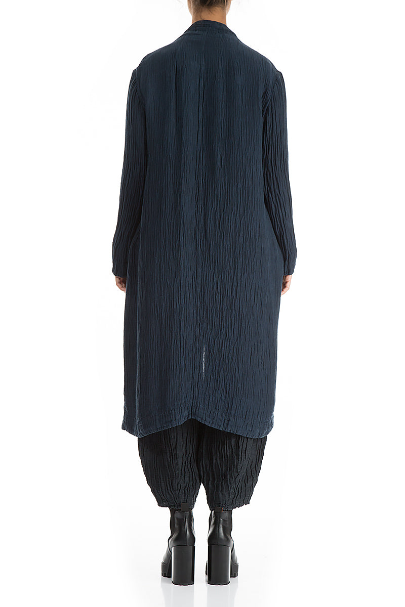 Open Crinkled Dark Blue Silk Linen Jacket