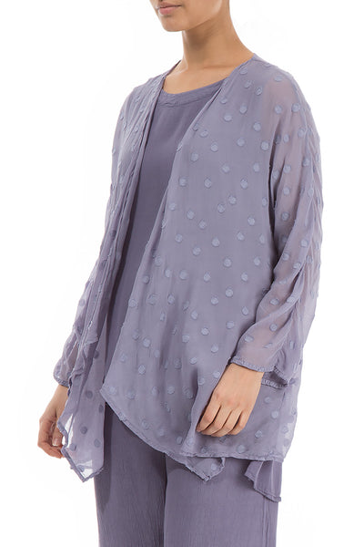 Open Type Violet Tulip Dotty Silk Jacket - GRIZAS | Natural Contemporary Womenswear
