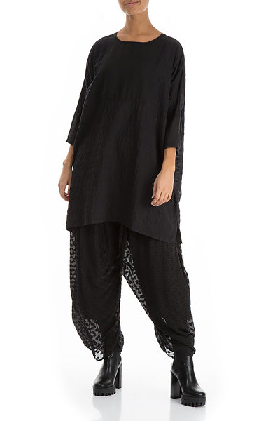 Oversized Black Silk Cotton Tunic