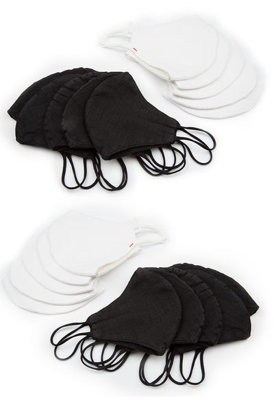Pack Of Black & White Reusable Protective Masks €4,95 x 20 PCS - GRIZAS | Natural Contemporary Womenswear