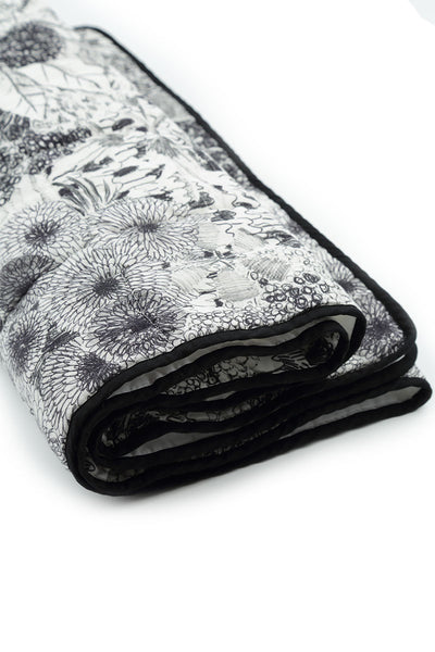 Padded Jungle Print Soft Linen Blanket