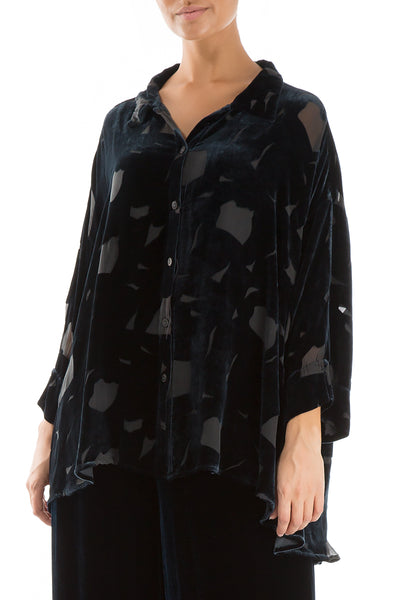 Devoré Brass Blue Silk Velvet Shirt