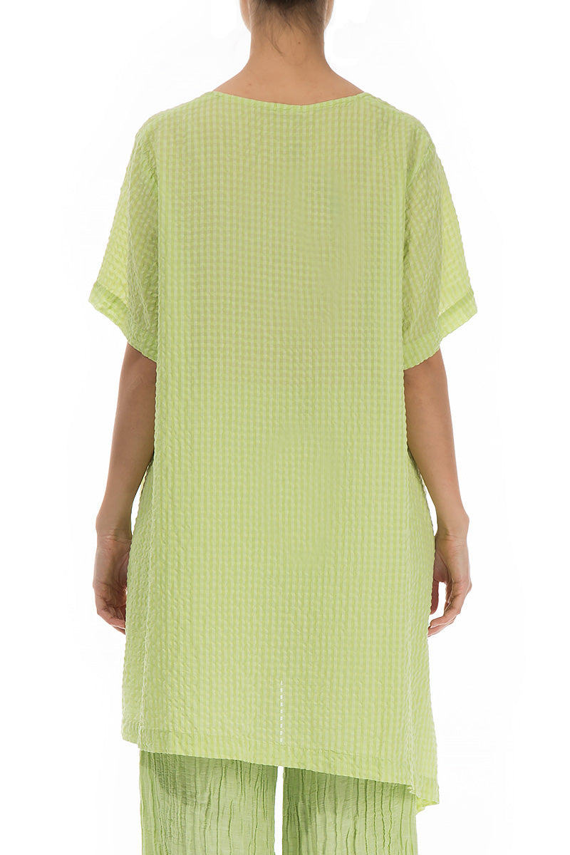 Patterned Lime Silk Tunic