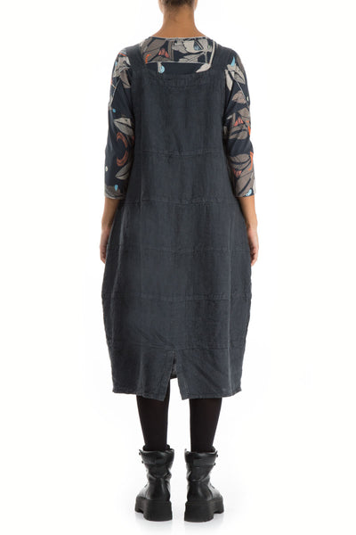 Patterned Linen Anthracite Overall Dress