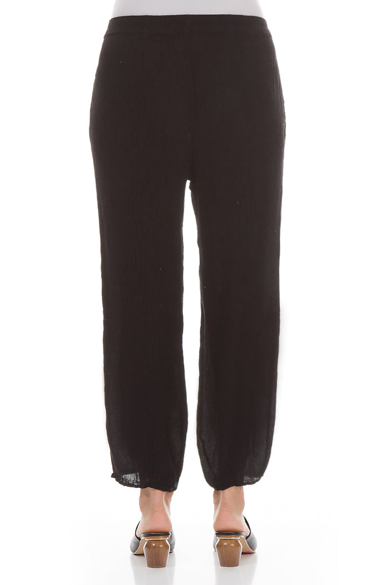 Pencil Black Silk Viscose Trousers