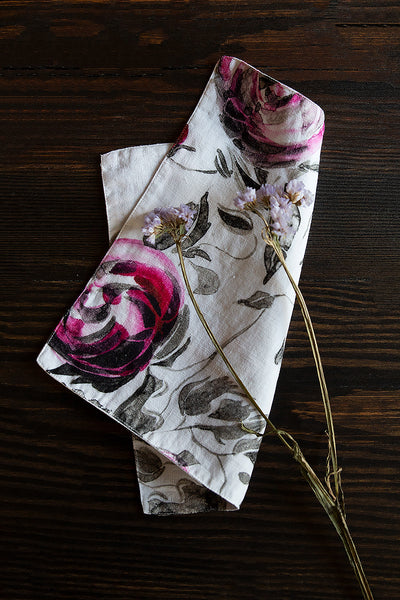 Pink Rose Print Linen Table Napkins