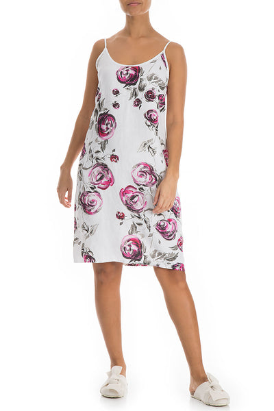 Pink Rose Print Linen Night Dress