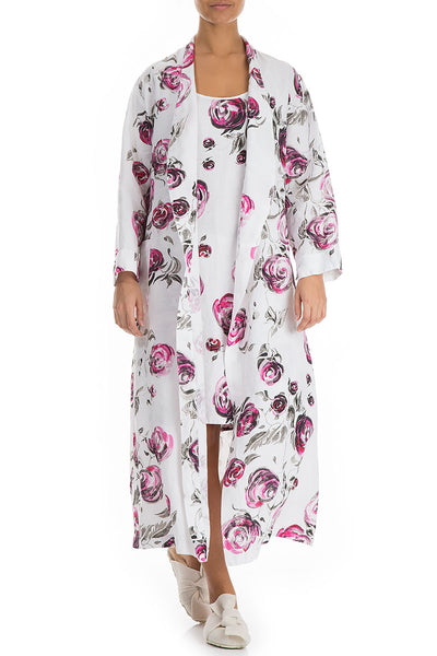 Pink Rose Print Linen Bathrobe
