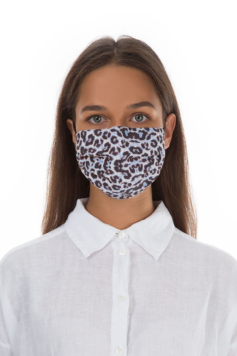 Pleated Reusable Blue Leopard Print Face Masks €6.99 x 10 PCS