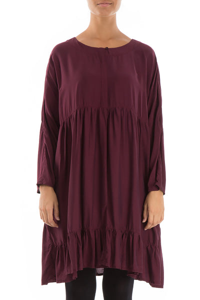 Pleated Silk Bamboo Wine Dress