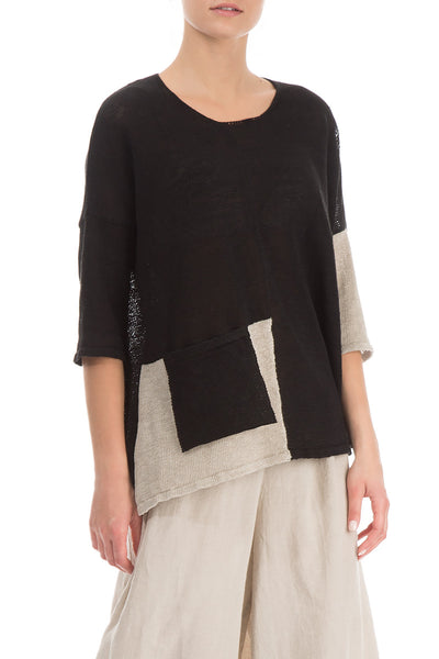 Pocket Decorated Black Linen Sweater - GRIZAS | Natural Contemporary Womenswear