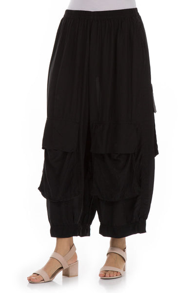 Pockets Black Silk Bamboo Trousers