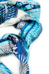 Printed Light Blue Pure Silk Scarf